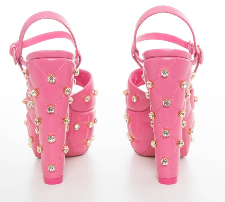 Moschino Couture Pink Quilted Leather Platform Sandals, Spring 2015 7