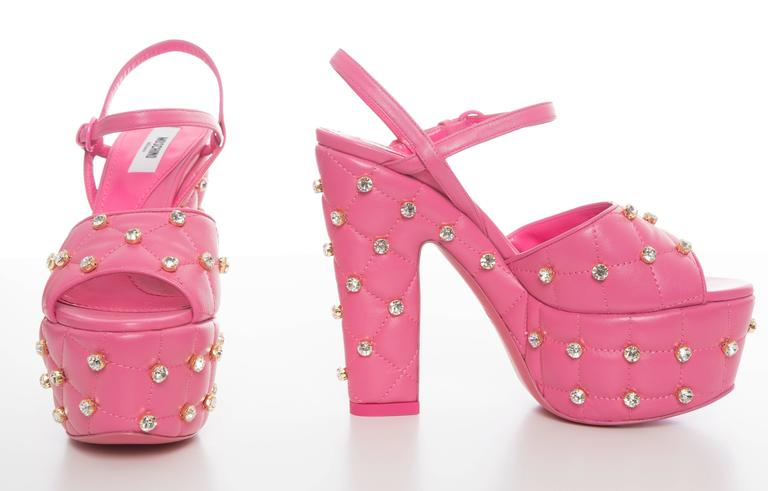 Moschino Couture Pink Quilted Leather Platform Sandals, Spring 2015 6