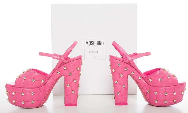 Moschino Couture Pink Quilted Leather Platform Sandals, Spring 2015 10