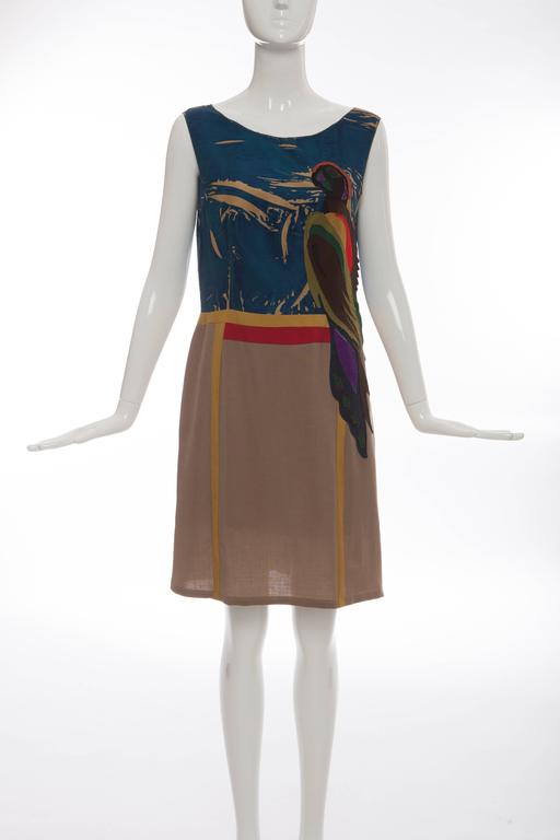 Prada, Spring 2005, sleeveless silk dress with applique parrot motif, wool skirt, fully lined and concealed side zip closure