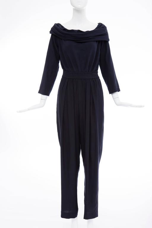 """Donna Karan Silk Navy Blue Off The Shoulder Pant Suit, Circa 1980""""s 2"""