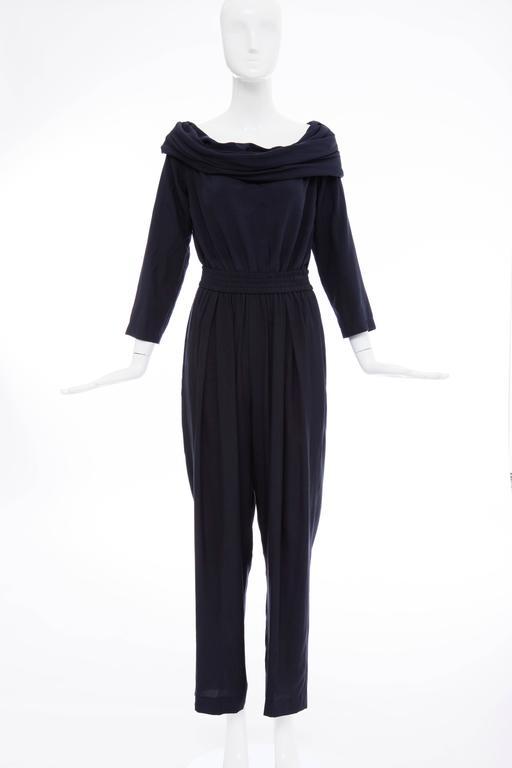 """Donna Karan Silk Navy Blue Off The Shoulder Pant Suit, Circa 1980""""s 3"""