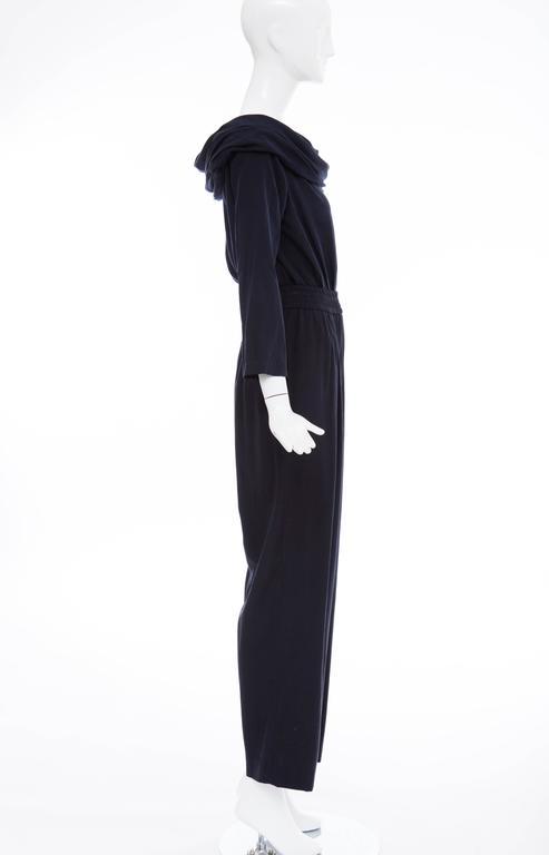 """Donna Karan Silk Navy Blue Off The Shoulder Pant Suit, Circa 1980""""s 4"""