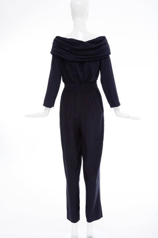 """Donna Karan Silk Navy Blue Off The Shoulder Pant Suit, Circa 1980""""s 5"""