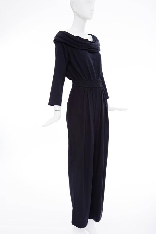 """Donna Karan Silk Navy Blue Off The Shoulder Pant Suit, Circa 1980""""s 7"""