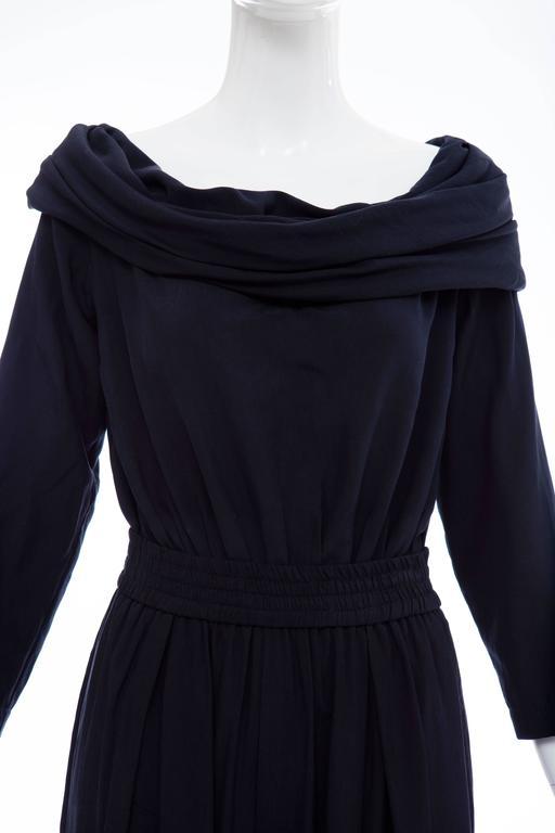 """Donna Karan Silk Navy Blue Off The Shoulder Pant Suit, Circa 1980""""s 6"""