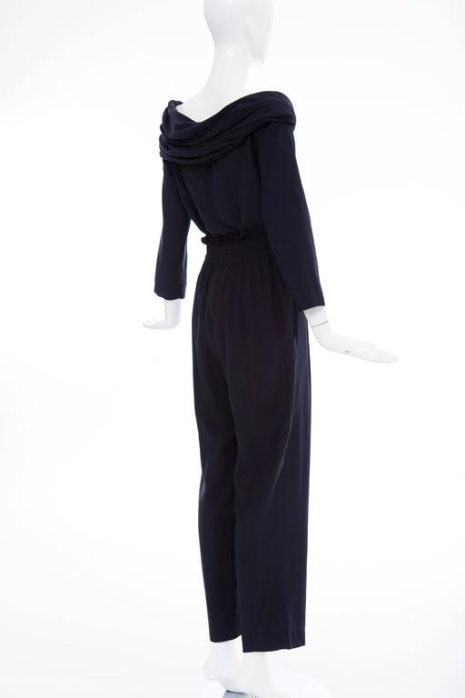 """Donna Karan Silk Navy Blue Off The Shoulder Pant Suit, Circa 1980""""s 8"""