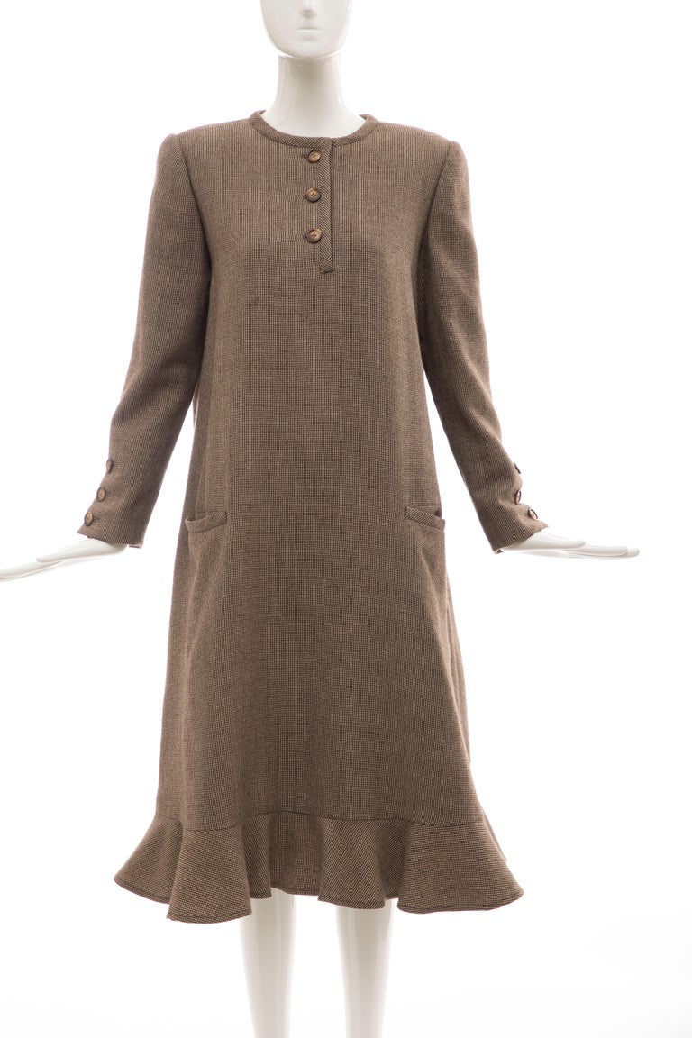 Bill Blass, Circa: 1970's long-sleeve A-line wool brown tweed button front dress, back zip with two front slit pockets and fully lined in silk.  US. 8  Bust: 40, Waist: 46, Hip: 56, Sleeve: 23, Shoulder: 16, Length: 45