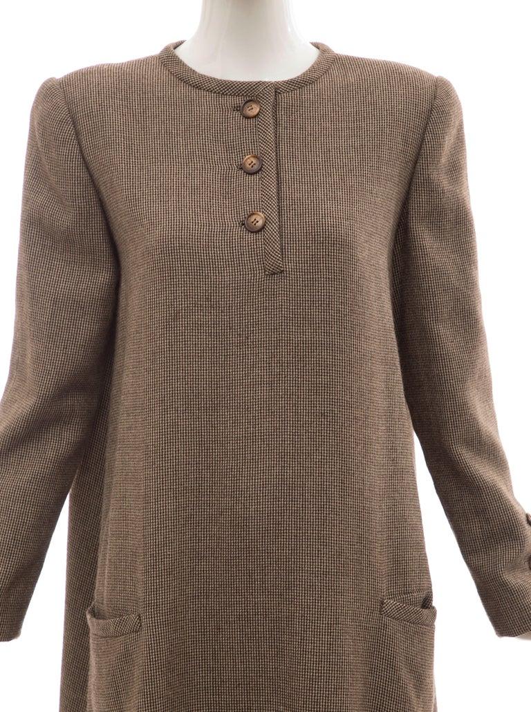 Women's Bill Blass Brown Wool Tweed A Line Button Front Dress, Circa: 1970's For Sale