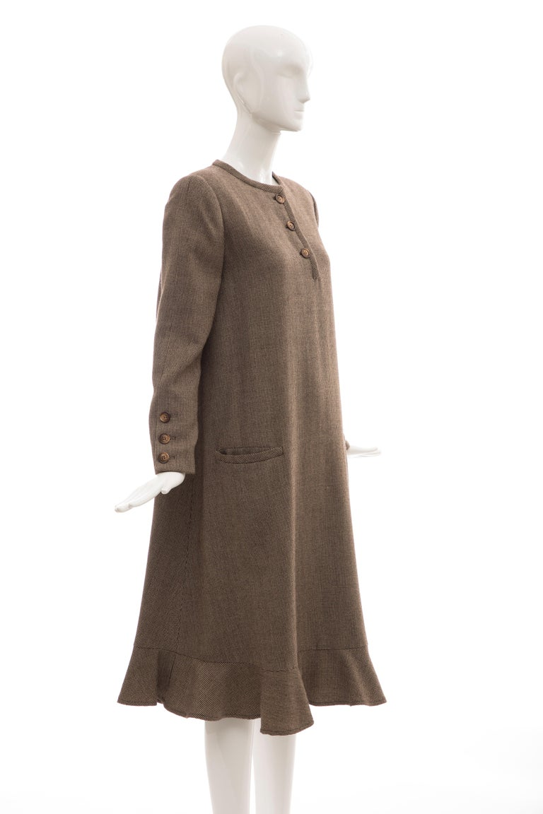 Bill Blass Brown Wool Tweed A Line Button Front Dress, Circa: 1970's For Sale 1
