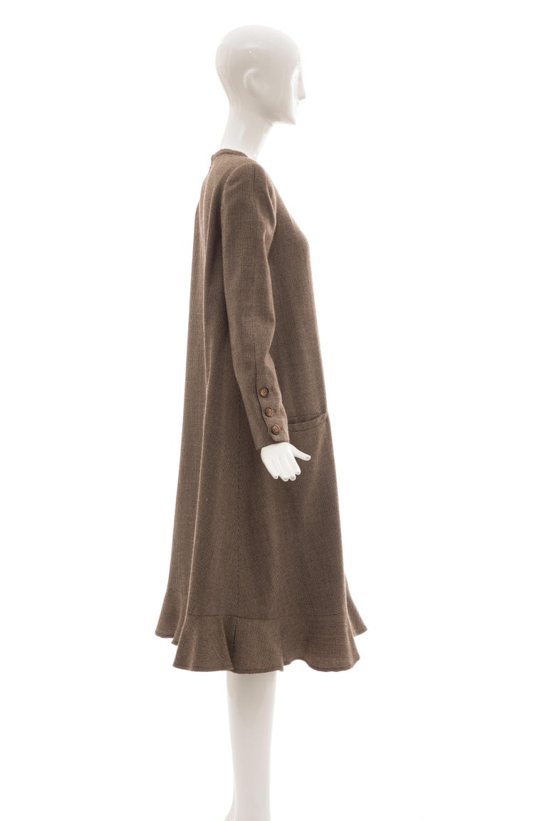 Bill Blass Brown Wool Tweed A Line Button Front Dress, Circa: 1970's For Sale 3
