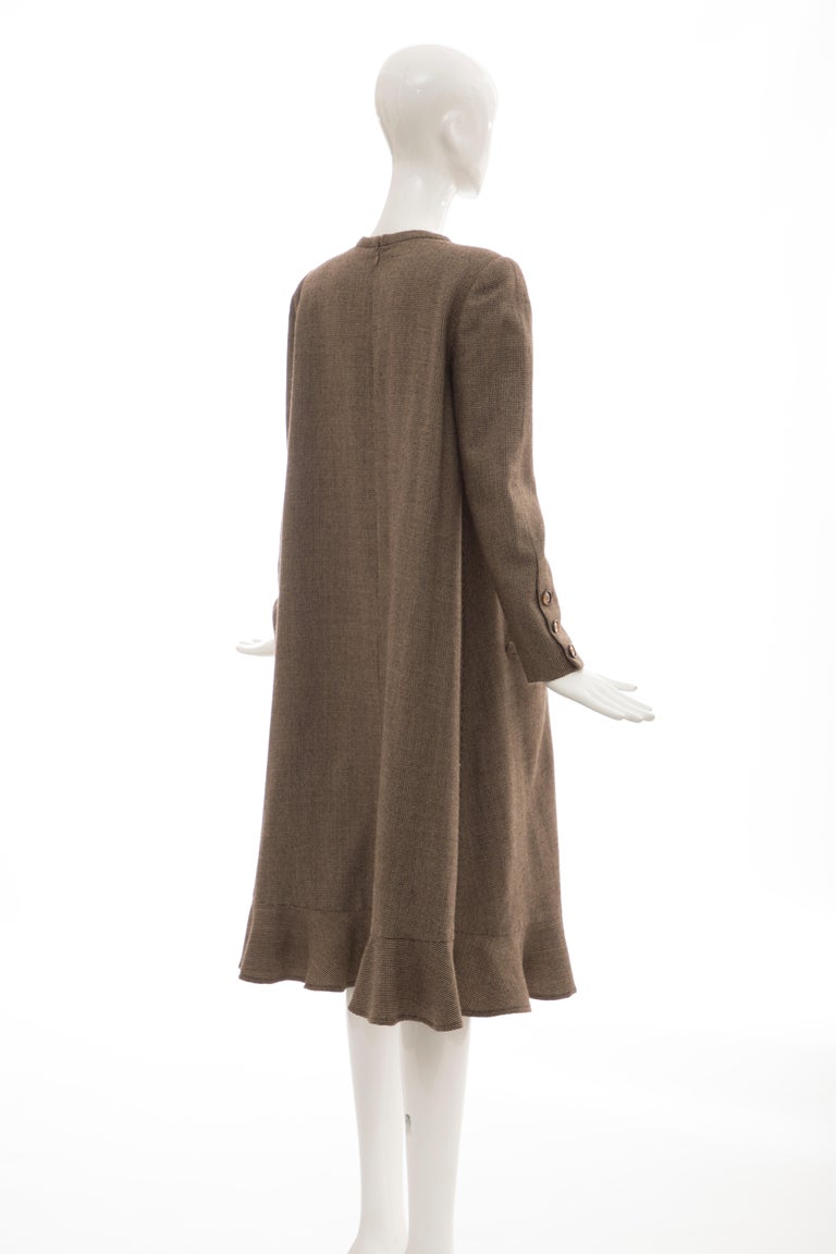 Bill Blass Brown Wool Tweed A Line Button Front Dress, Circa: 1970's For Sale 4