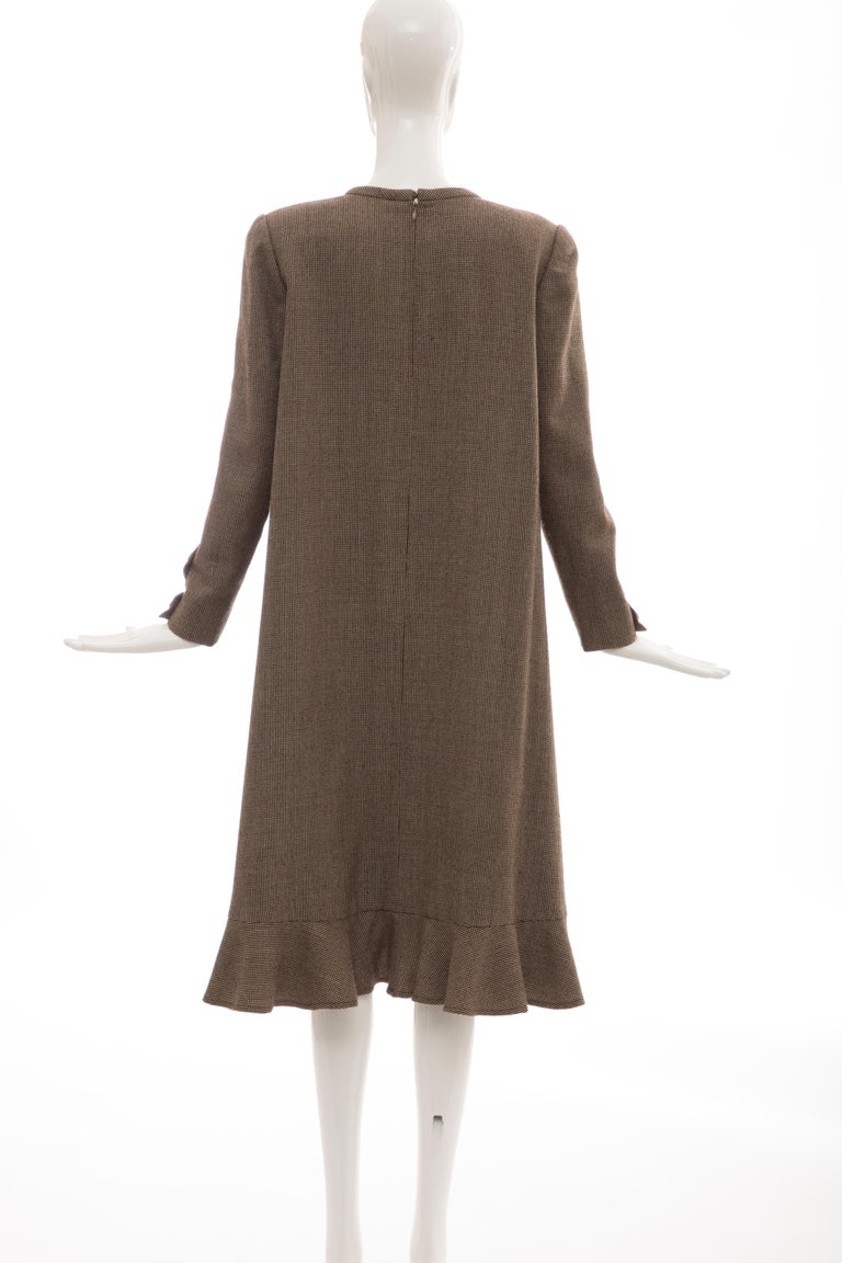 Bill Blass Brown Wool Tweed A Line Button Front Dress, Circa: 1970's For Sale 5