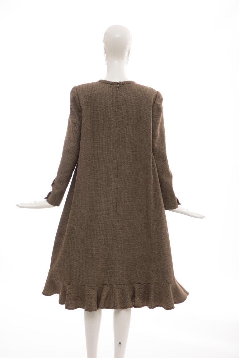 Bill Blass Brown Wool Tweed A Line Button Front Dress, Circa: 1970's For Sale 6