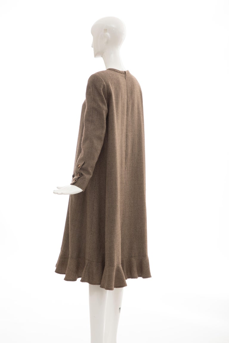 Bill Blass Brown Wool Tweed A Line Button Front Dress, Circa: 1970's For Sale 7