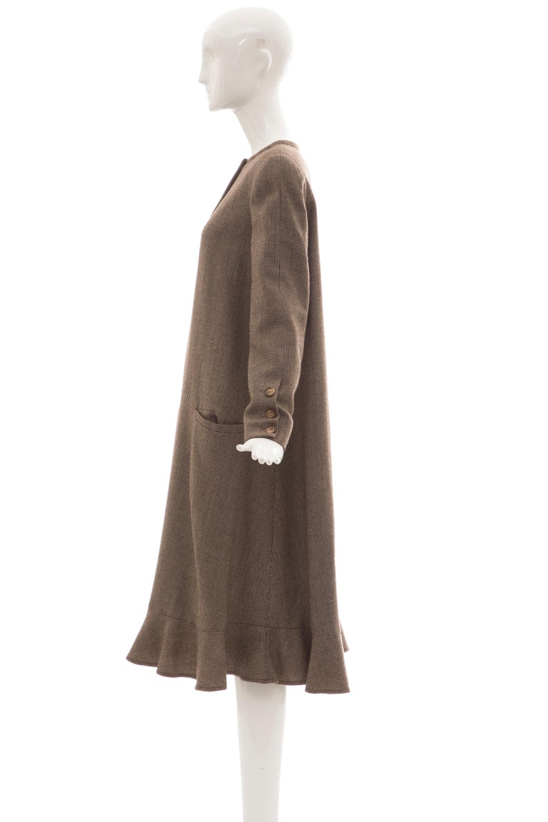Bill Blass Brown Wool Tweed A Line Button Front Dress, Circa: 1970's For Sale 8