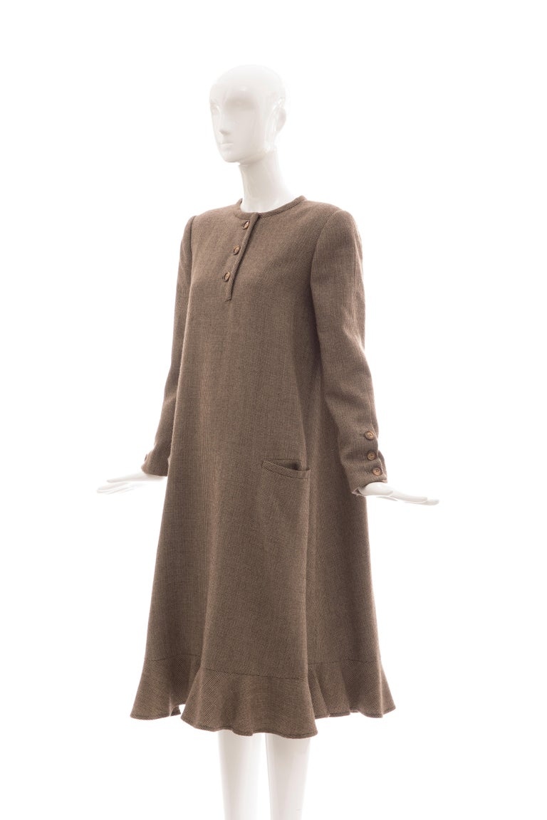 Bill Blass Brown Wool Tweed A Line Button Front Dress, Circa: 1970's For Sale 9