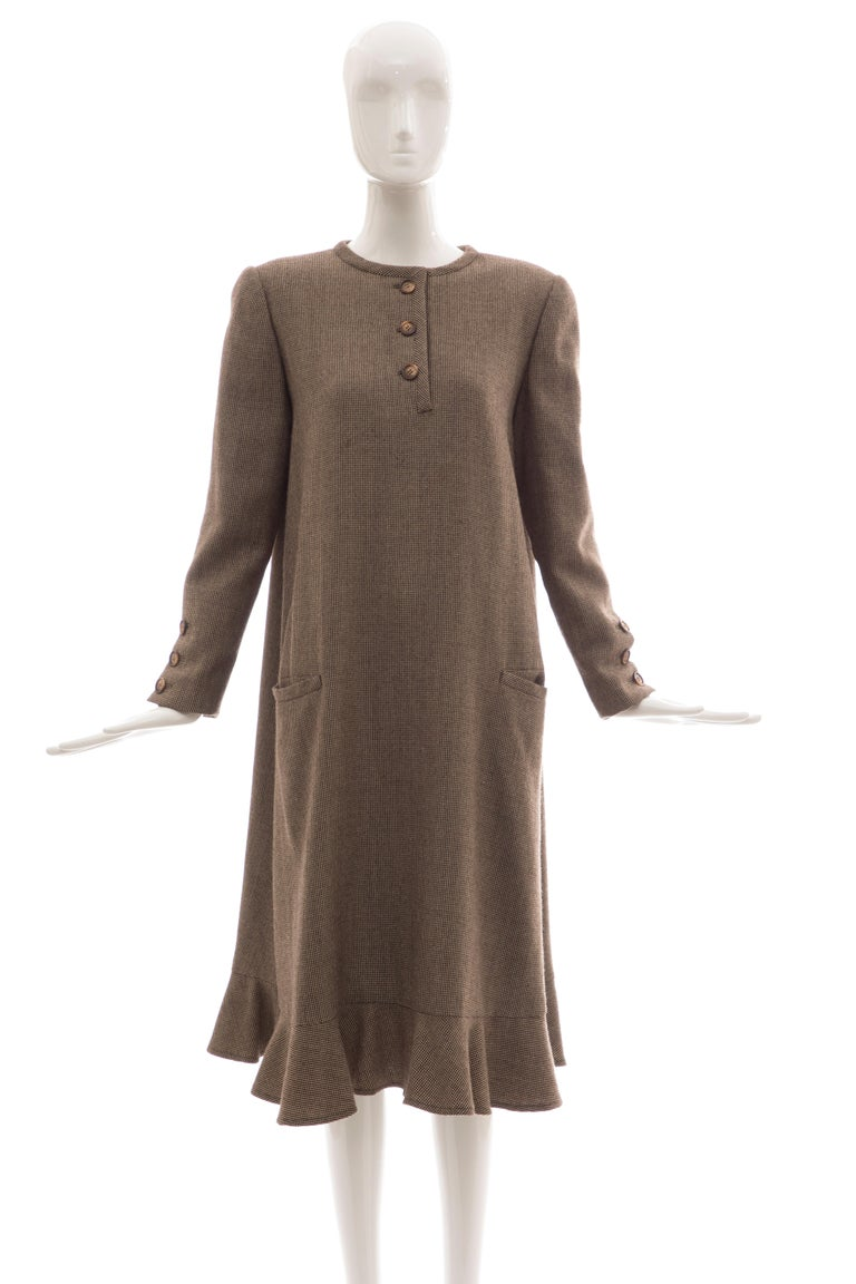 Bill Blass Brown Wool Tweed A Line Button Front Dress, Circa: 1970's For Sale 10