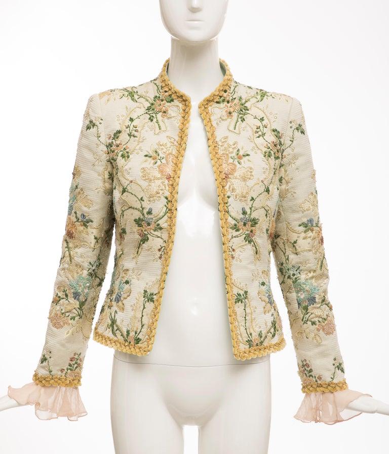 Oscar de la Renta, Circa: 1990's long-sleeve evening jacket with Lesage embroidery, silk chiffon ruffled cuff, fully lined in silk.  US: 8  Bust: 36, Waist: 34, Sleeve: 22, Shoulder: 15, Length: 21