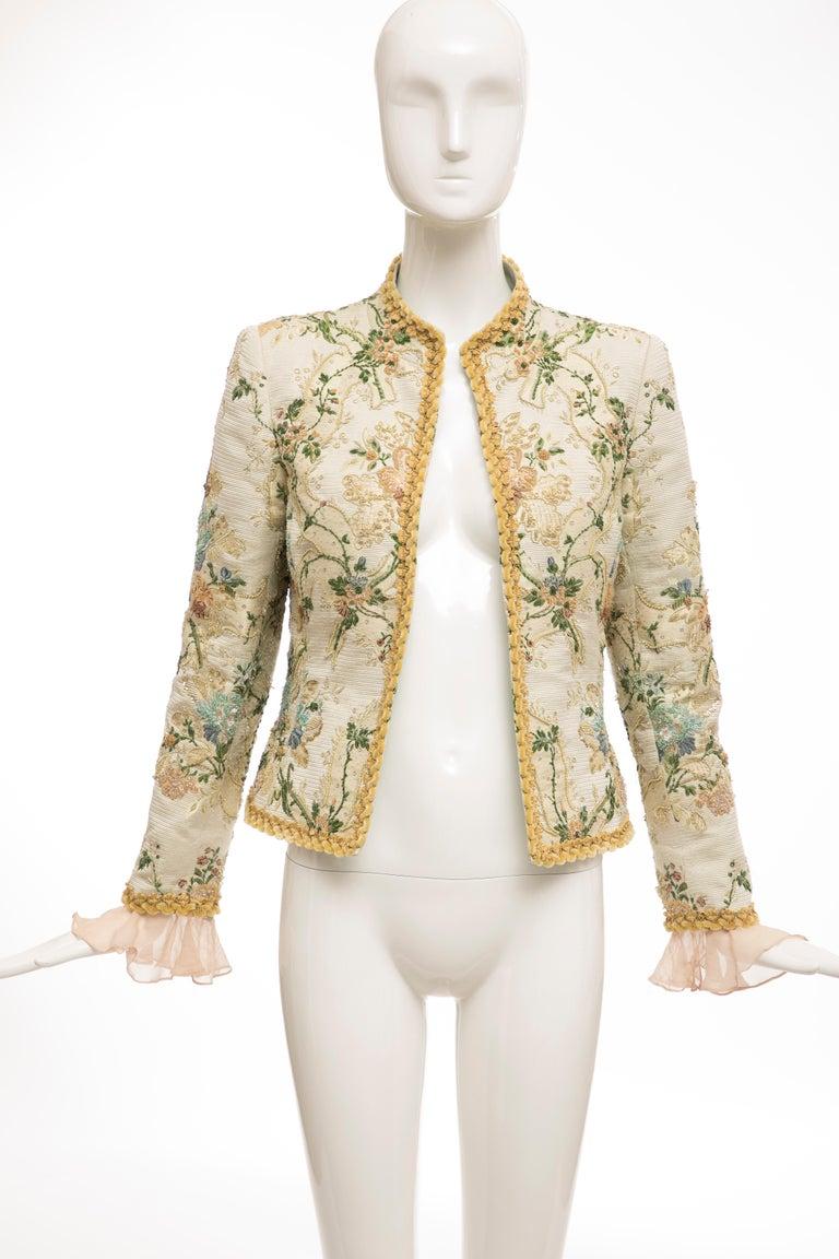 Beige Oscar de la Renta Lesage Embroidered Evening Jacket, Circa: 1990's For Sale