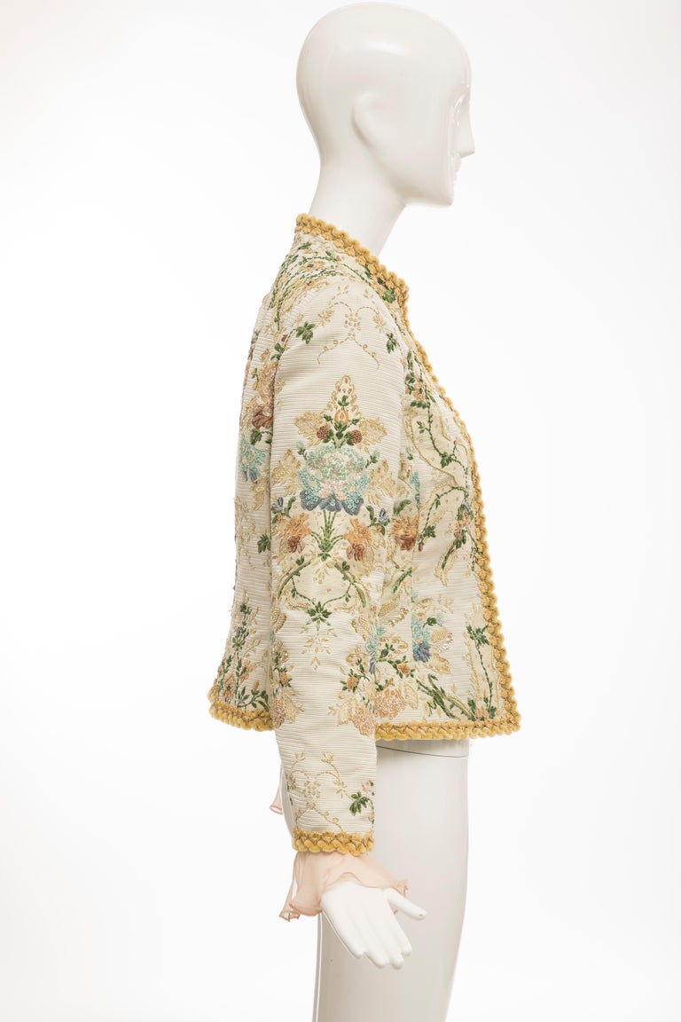 Oscar de la Renta Lesage Embroidered Evening Jacket, Circa: 1990's For Sale 2