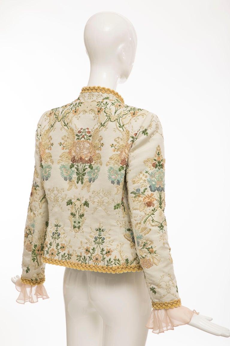 Oscar de la Renta Lesage Embroidered Evening Jacket, Circa: 1990's For Sale 3