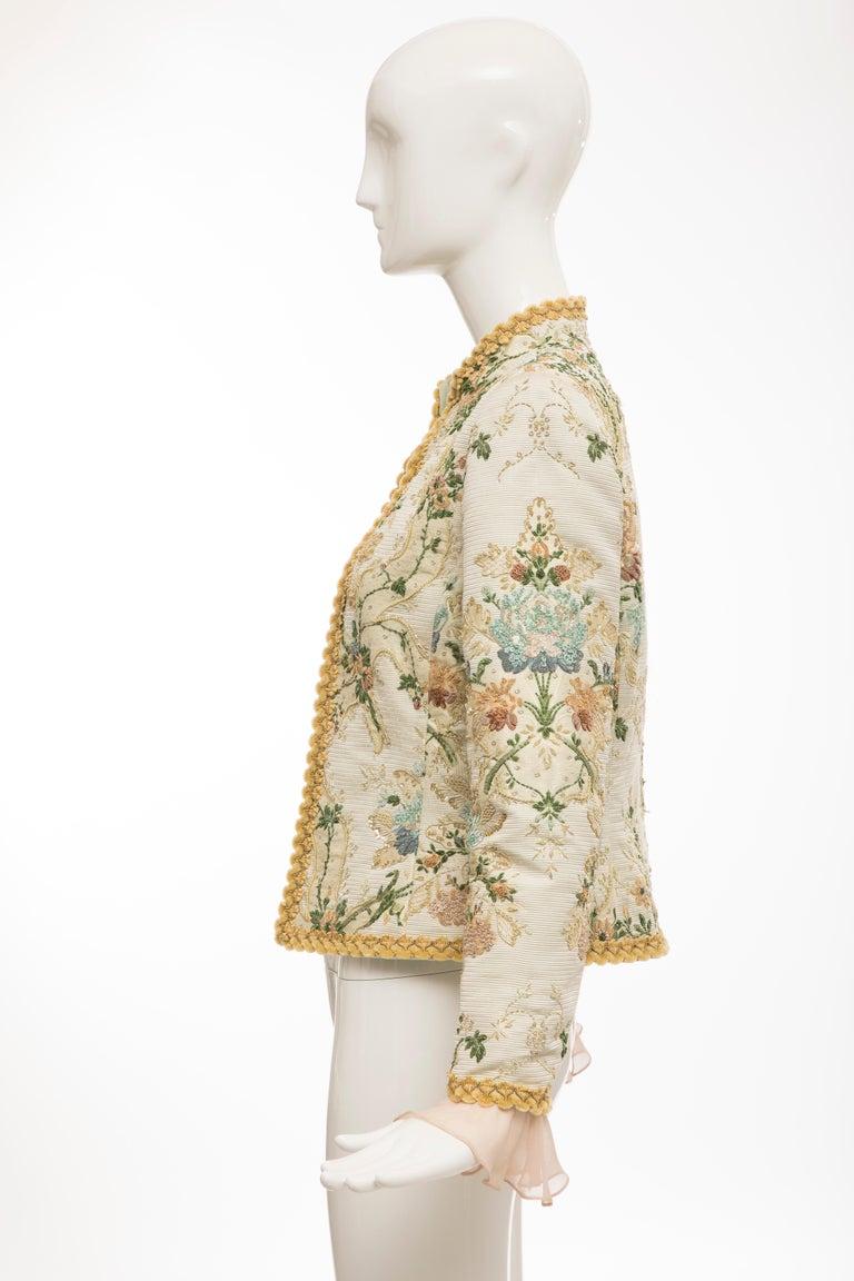 Oscar de la Renta Lesage Embroidered Evening Jacket, Circa: 1990's For Sale 6