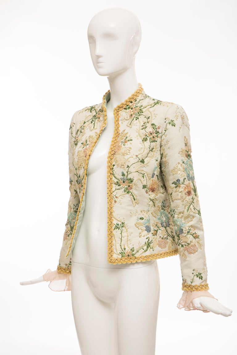 Oscar de la Renta Lesage Embroidered Evening Jacket, Circa: 1990's For Sale 7