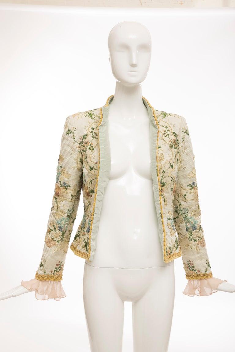 Oscar de la Renta Lesage Embroidered Evening Jacket, Circa: 1990's For Sale 8