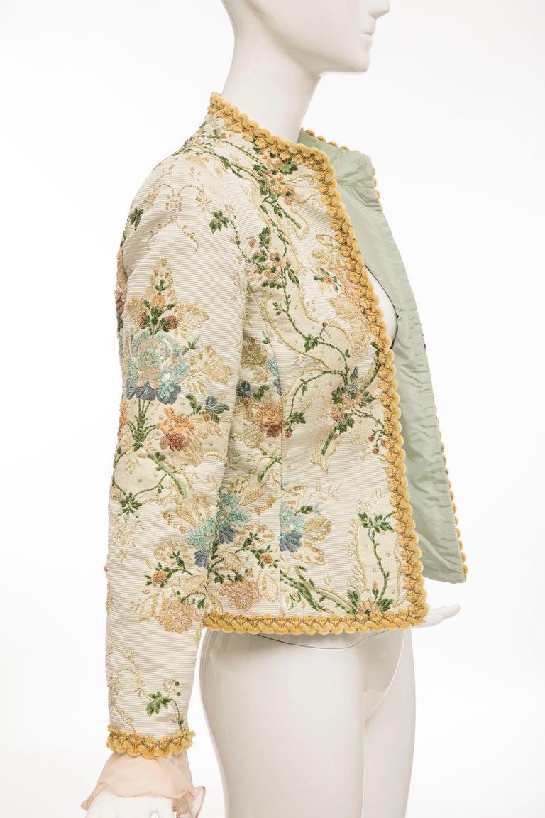 Oscar de la Renta Lesage Embroidered Evening Jacket, Circa: 1990's For Sale 9