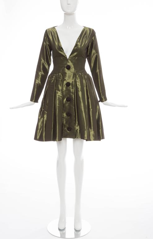 Yves Saint Laurent Rive Gauche, circa 1980's olive green silk taffeta bouffant evening dress, button front, deep V neckline, fitted waist, skirt with box pleats, long fitted zip sleeve and skirt portion is fully lined.  EU.36