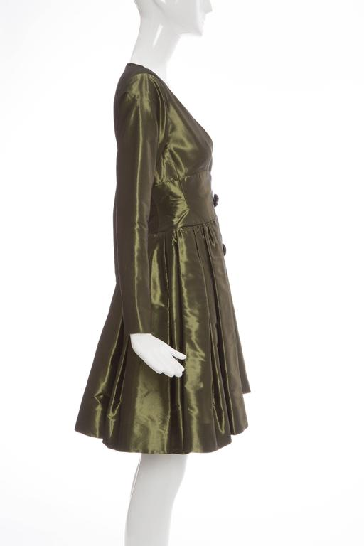 Black Yves Saint Laurent Rive Gauche Silk Taffeta Evening Dress, Circa 1980's For Sale