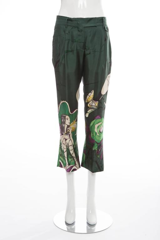 """Prada, Spring/Summer 2008 silk cropped pants with four welt pockets featuring dual gusset pockets, James Jean fairy print throughout, hidden zip and hook-and-eye closures at front.  IT. 40 US. 4  Waist 33"""", Hip 43"""", Rise 10"""", Inseam"""