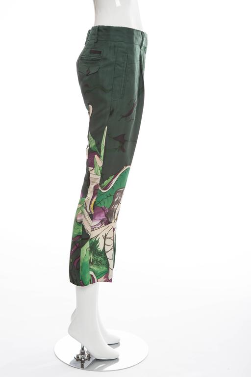 Prada Silk Cropped Pants With James Jean Fairy Print, Spring - Summer 2008 In Excellent Condition For Sale In Cincinnati, OH