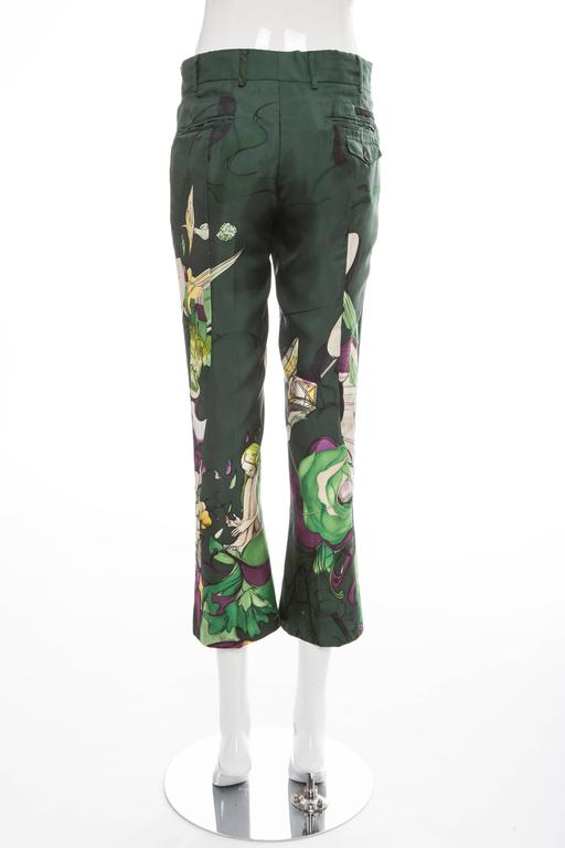 Women's Prada Silk Cropped Pants With James Jean Fairy Print, Spring - Summer 2008 For Sale