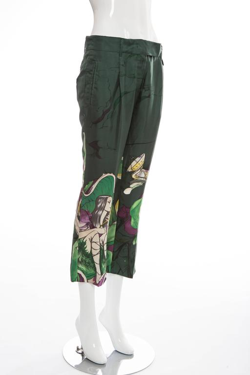 Prada Silk Cropped Pants With James Jean Fairy Print, Spring - Summer 2008 For Sale 1