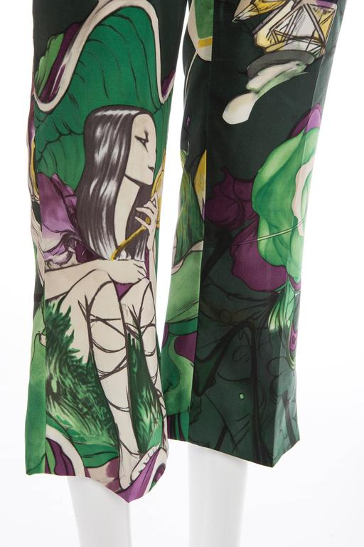 Prada Silk Cropped Pants With James Jean Fairy Print, Spring - Summer 2008 For Sale 2