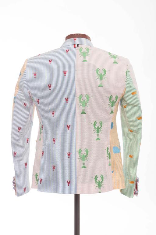 Gray Thom Browne Men's Embroidered Lobster Seersucker Blazer, Spring - Summer 2013 For Sale
