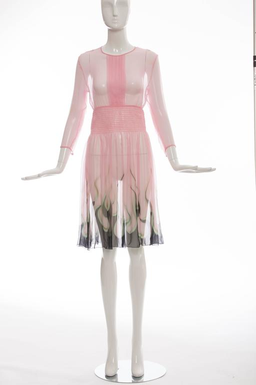 Prada Pink Silk Chiffon Dress With Flame Print At Hem, Spring 2012 2