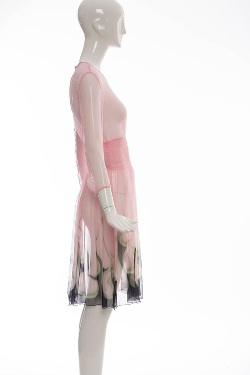 Prada Pink Silk Chiffon Dress With Flame Print At Hem, Spring 2012 3