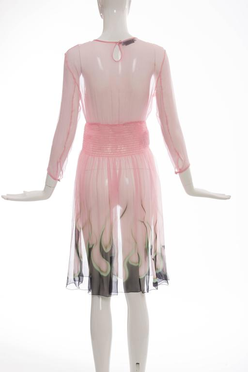 Prada Pink Silk Chiffon Dress With Flame Print At Hem, Spring 2012 4