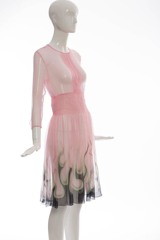 Prada Pink Silk Chiffon Dress With Flame Print At Hem, Spring 2012 5