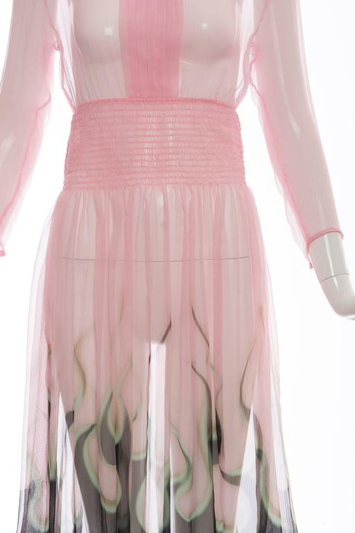Prada Pink Silk Chiffon Dress With Flame Print At Hem, Spring 2012 6