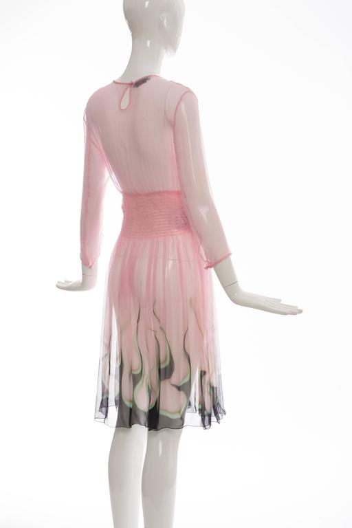 Prada Pink Silk Chiffon Dress With Flame Print At Hem, Spring 2012 7