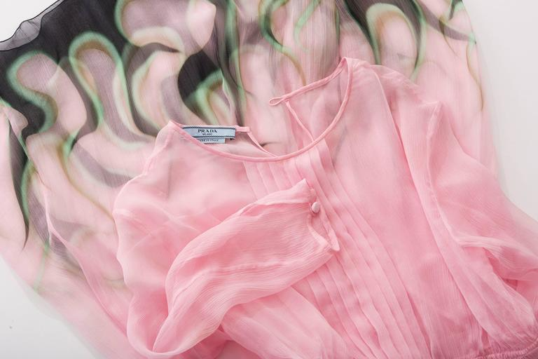 Prada Pink Silk Chiffon Dress With Flame Print At Hem, Spring 2012 8