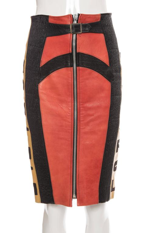 Orange Jean Paul Gaultier 'Russian Constructivist' Leather Skirt, Autumn - Winter 1986 For Sale