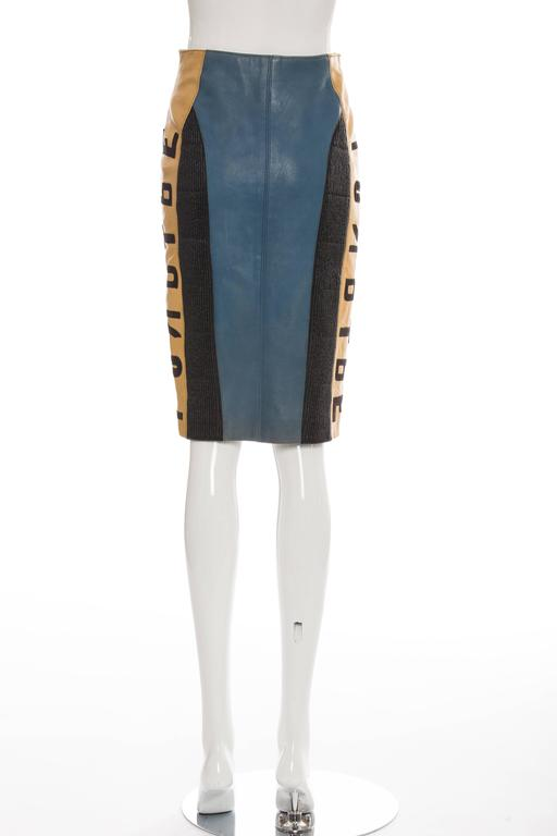 Women's Jean Paul Gaultier 'Russian Constructivist' Leather Skirt, Autumn - Winter 1986 For Sale