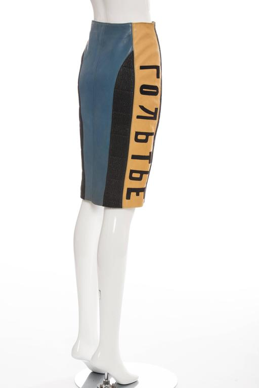 Jean Paul Gaultier 'Russian Constructivist' Leather Skirt, Autumn - Winter 1986 For Sale 1