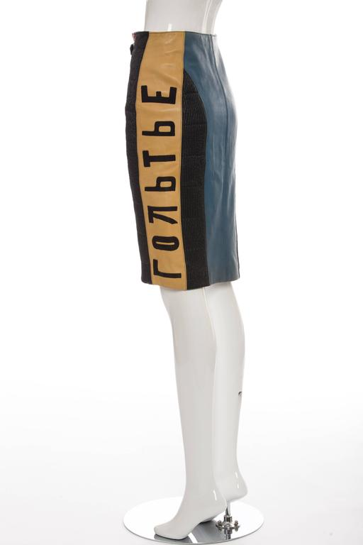 Jean Paul Gaultier 'Russian Constructivist' Leather Skirt, Autumn - Winter 1986 For Sale 2