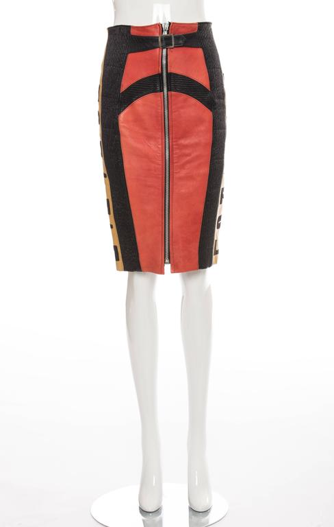 Jean Paul Gaultier 'Russian Constructivist' Leather Skirt, Autumn - Winter 1986 For Sale 3
